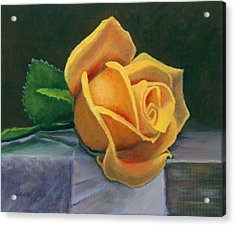 Yellow Rose Acrylic Print by Janet King