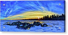 Yellow Sunset At Meddybemps Acrylic Print by ABeautifulSky Photography