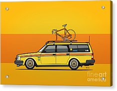 Yellow Volvo 245 Wagon With Roof Rack And Vintage Bicycle Acrylic Print by Monkey Crisis On Mars