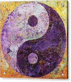 Purple Yin Yang Acrylic Print by Michael Creese