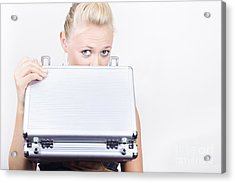 Young Female Accounts Employee Looking In Case Acrylic Print by Jorgo Photography - Wall Art Gallery