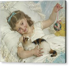 Young Girl And Cat Acrylic Print by Emile Munier
