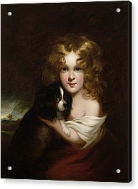 Young Girl With A Dog Acrylic Print by Margaret Sarah Carpenter