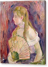 Young Girl With A Fan Acrylic Print by Berthe Morisot