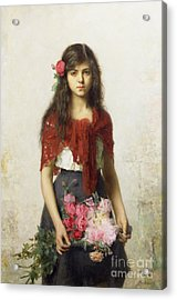 Young Girl With Blossoms Acrylic Print by Alexei Alexevich Harlamoff