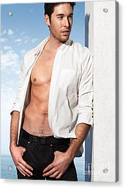 Young Man In Unbuttoned Shirt Acrylic Print by Oleksiy Maksymenko