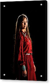 Young Navajo Girl Dressed In Finery Acrylic Print by Elizabeth Hershkowitz
