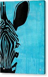 Zebra Animal Decorative Blue Poster 3 - By Diana Van Acrylic Print by Diana Van