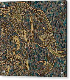 Zentangle Elephant-oil Gold Acrylic Print by Becky Herrera