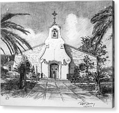 Zephyrhills Catholic Church Acrylic Print by Rod Varney