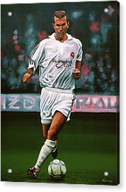 Zidane At Real Madrid Painting Acrylic Print by Paul Meijering