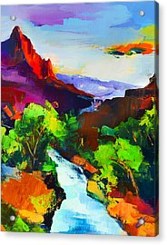 Zion - The Watchman And The Virgin River Acrylic Print by Elise Palmigiani