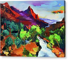 Zion - The Watchman And The Virgin River Vista Acrylic Print by Elise Palmigiani