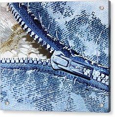 Zipper In Blue Acrylic Print by Nancy Mueller