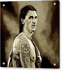 Zlatan Ibrahimovic Sepia Acrylic Print by Paul Meijering
