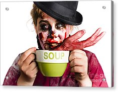 Zombie Woman Eating Hand Soup Acrylic Print by Jorgo Photography - Wall Art Gallery