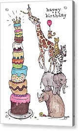 Zoo Animals Happy Birthday Card Acrylic Print by Katrina Davis