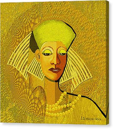 189 Metallic Woman Golden Pearls Canvas Print by Irmgard Schoendorf Welch