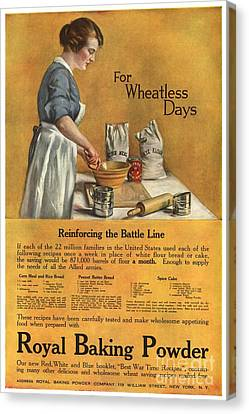 1918 1910s Usa Cooking Royal Baking Canvas Print by The Advertising Archives