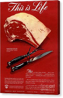 1940s Usa Meat Canvas Print by The Advertising Archives