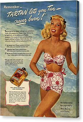 1940s Usa Tartan   Lotions Swim Suits Canvas Print by The Advertising Archives