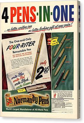 1948 1940s Usa Pens Pencils Normandy Canvas Print by The Advertising Archives
