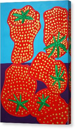 5 Big Strawberries Canvas Print by Matthew Brzostoski