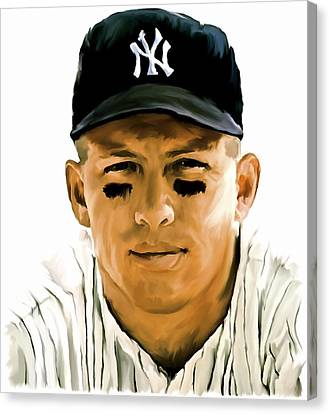 American Icon Mickey Mantle Canvas Print by Iconic Images Art Gallery David Pucciarelli