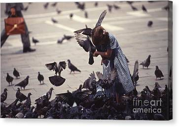 An Angel In The Square Canvas Print by Carol Weitz