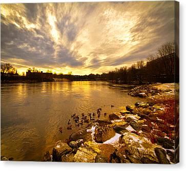 Androscoggin River Between Lewiston And Auburn Canvas Print by Bob Orsillo