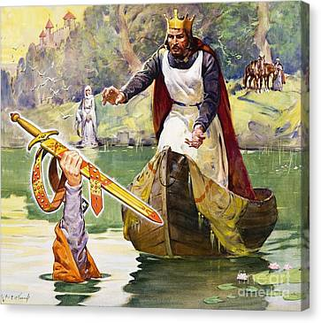Arthur And Excalibur Canvas Print by James Edwin McConnell