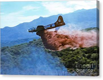 Canvas Print featuring the photograph  B-17 Air Tanker Dropping Fire Retardant by Bill Gabbert