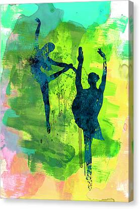 Ballet Watercolor 1 Canvas Print by Naxart Studio