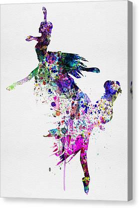 Ballet Watercolor 3 Canvas Print by Naxart Studio