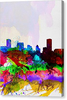 Baltimore Watercolor Skyline Canvas Print by Naxart Studio