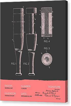 Baseball Bat Patent From 1919 - Gray Salmon Canvas Print by Aged Pixel