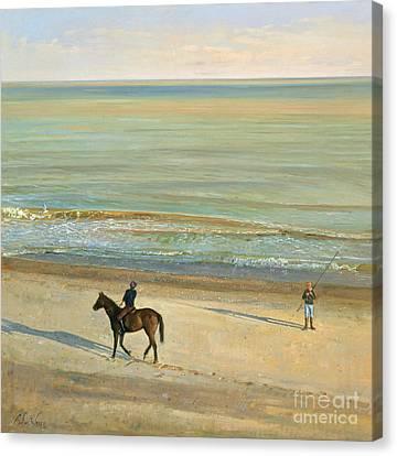 Beach Dialogue Dunwich Canvas Print by Timothy  Easton