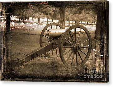 Cannon At Cemetery Canvas Print by Connie Mueller