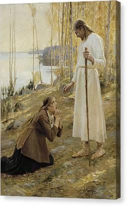 Christ And Mary Magdalene A Finnish Legend Canvas Print by Albert Edelfelt