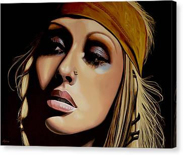 Christina Aguilera Painting Canvas Print by Paul Meijering