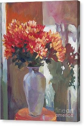 Chrysanthemums In Vase Canvas Print by David Lloyd Glover