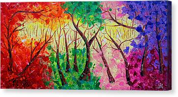 Colorful Mystical Forest Canvas Print by Julia Apostolova