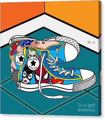 Comics Shoes Canvas Print by Mark Ashkenazi
