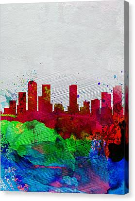 Denver Watercolor Skyline Canvas Print by Naxart Studio