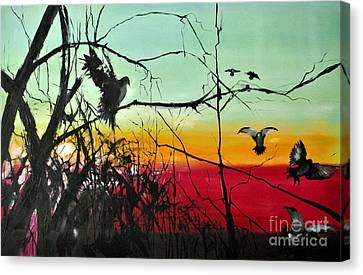 Doves At The Dawn Canvas Print by Maja Sokolowska