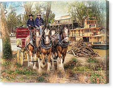 Driving The Murray Canvas Print by Trudi Simmonds