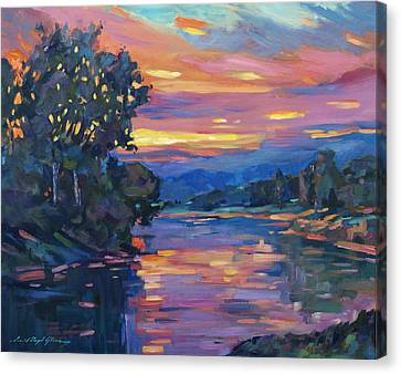 Dusk River Canvas Print by David Lloyd Glover