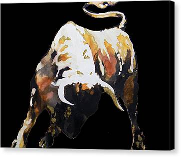 Fight Bull In Black Canvas Print by Jose Espinoza