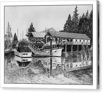 Fishermans Net Shed Gig Harbor Canvas Print by Jack Pumphrey