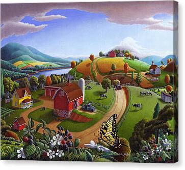 Folk Art Blackberry Patch Rural Country Farm Landscape Painting - Blackberries Rustic Americana Canvas Print by Walt Curlee